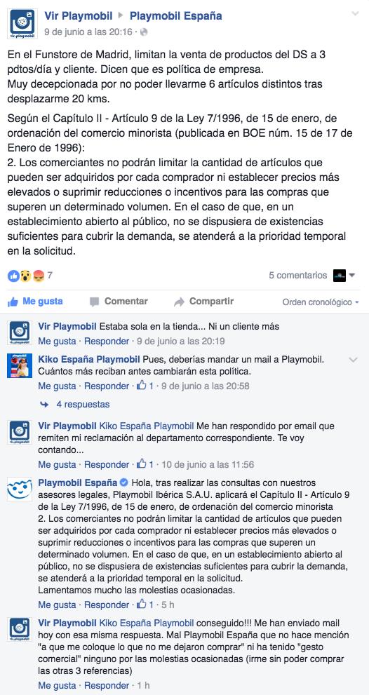 Queja Playmobil FunStore